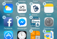 """Billede af applikationer, """"der hopper"""" på iPhone (Foto: MereMobil.dk)"""