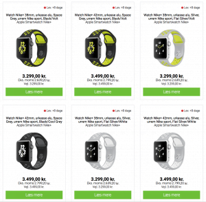 Apple Watch Nike+ modeller hos Humac (Foto: MereMobil.dk)