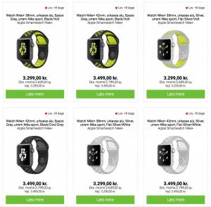 Apple Watch Nike+ modeller hos Humac (Foto: MereMobil.dk)