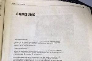 Galaxy Note 7 skandalen har tvunget Samsung til at undskylde offenligt (foto: twitterbruger der læser Wall Street Journal)
