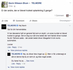 En af flere beskeder på Telmores Facebookside omkring problemerne