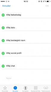 "Screenshots ""beslægtede personer"" i iOS (Kilde: MereMobil.dk)"