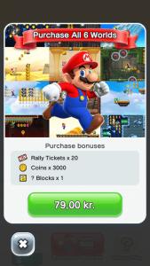 Det koster 79 kroner, hvis du vil have adgang til alle baner i Super Mario Run (Foto: MereMobil.dk)
