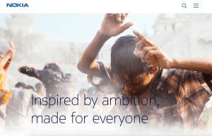 Skærmbillede af Nokia.com