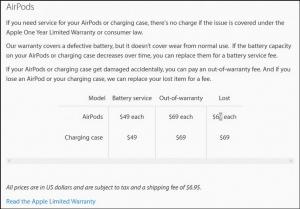 Priser på nyt batteri og en enkelt AirPod (Kilde: Apple)