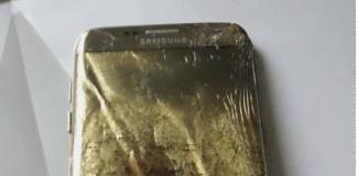 Samsung Galaxy S7 Edge efter en spontan brand (Foto: Michella Gummesen)