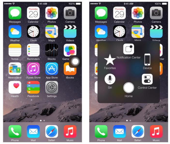 """Sådan ser funktionen """"Assistive Touch"""" ud på iPhones hjemmeskærme a6545c6a969b9"""