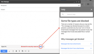 Gmail vil blokere og advare mod .js filer