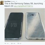 Evan Blass (@EvLeaks) har afsløret datoen for offentliggørelsen af Galaxy S8, samt et billede af enheden (Kilde: Twitter)