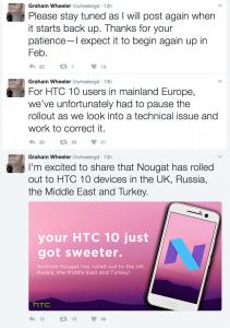 Graham Wheelers opdateringer på Twitter vedrørende Android 7.0 opdateringen til HTC 10 (Kilde: Twitter)