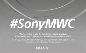Invitation fra Sony Mobile til event på Mobile World Congress 2017 (Kilde: Sony Mobile)