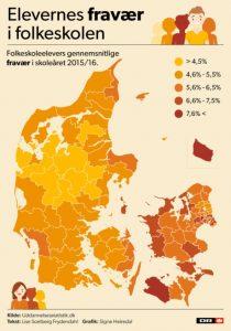 Oversigt over fravær på de danske folkeskoler (Kilde: DR.dk)