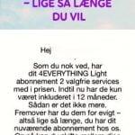 Besked Telia har udsendt til deres kunder med 4EVERYTHING abonnement (Kilde: en bruger af MereMobil.dk)