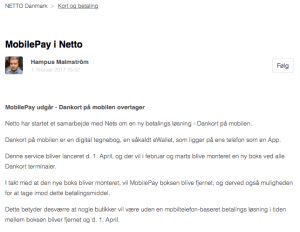 Nettos information til kunderne om MobilePay (Foto: MereMobil.dk)
