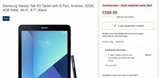 Samsung Galaxy Tab S3 pris