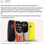 Call Me's opslag på Facebook, hvor de skriver de forventer, at få Nokia 3310 (2017) i sortiment (Kilde: Call Me Facebook)