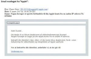 Eksempel på phishing mail