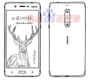 Skitse lækket af Nokibar. Er det fronten på kommende Nokia topmodel? (Kilde: wmpoweruser)