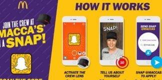 McDonald's i Australien har indgået samarbejde med SnapChat - så ansøger kan indsende en 10 sekunders video