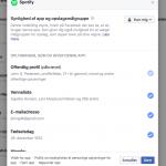 Spotify rettighederne på Facebook (Foto: MereMobil.dk)