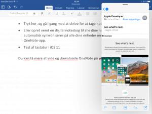 Mail placeret ovenpå Word. iPad med iOS 11 (Foto: MereMobil.dk)