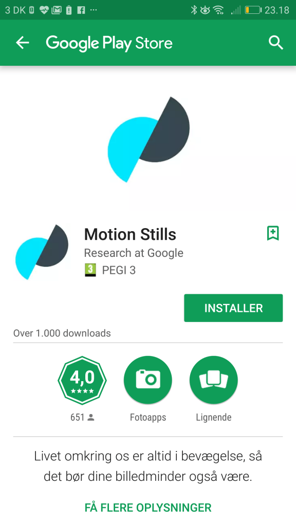 Google er klar med motion stills til android - Er finestra android ...