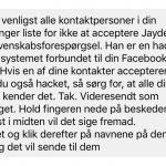Beskeden der omhandler advarslen mod Jayden K. Smith (Kilde: MereMobil.dk)