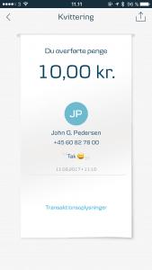 Overførsel i MobilePay med brug af emoji og det mest benyttede ord i første halvår 2017 (Foto: MereMobil.dk)