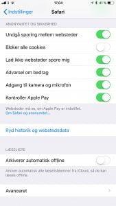 iOS 11 Safari indstillinger