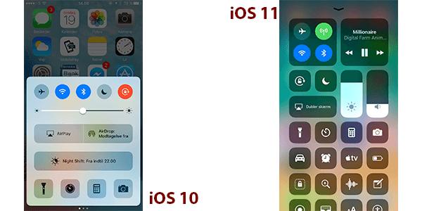 Kontrolcenter i iOS 10 og iOS 11