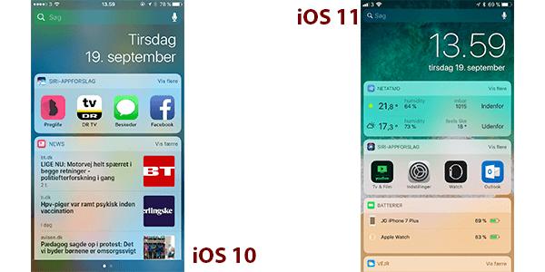 Widgetspanel i IOS 10 og 11