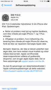 iOS 11.0.3 klar til download (Foto: MereMobil.dk)