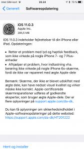 iOS 11.0.3 klar til download (Foto: MereMobil.dk)