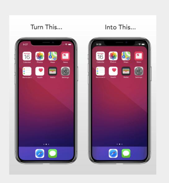 iphone hemknapp på skärmen