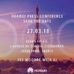 Invitation til event i Paris den 27. marts 2018, hvor det ventes Huawei P20 vil blive afsløret (Kilde: Pocketnow.com)