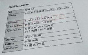Lækkede specifikationer på OnePlus 6 (Kilde: GSMArena.com)