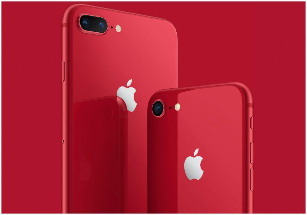 iPhone 8 og iPhone 8 Plus i rød