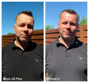 Portræt Moto G6 Plus vs iPhone