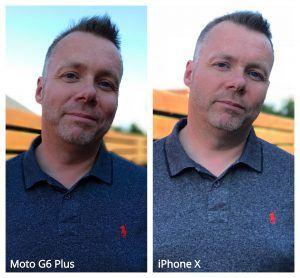 Portrætdemo iPhone vs Moto skygge