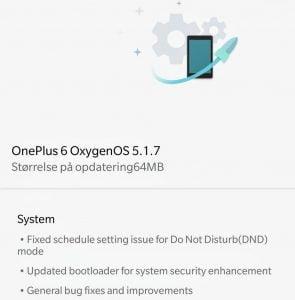 OxygenOS 5.1.7 opdateringslog