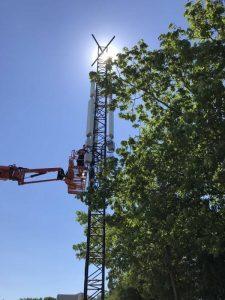 Mobilmast på Roskilde Festivallen 2018 med Dual-Band Dual-Beam 6 sector @4T4R (LF1800 + LT2600). (Foto: teleselskabet3)