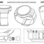 Hauwei patent over smartwatch med indbyggede hovedtelefoner (Foto: LetGoDigital)