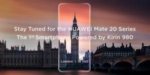Huawei inviterer til event i London, hvor de præsenterer Mate 20 og Mate 20 Pro (Kilde: Huawei Twitter)