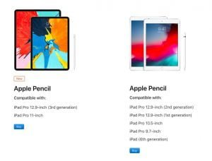 Apple Pencil (1. generation) og Apple Pencil (2. generation), samt hvilke iPad-modeller de er kompatible med (Foto: Apple)