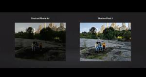 Billede taget med Night Sight sammenlignet med billedet taget med iPhone Xs