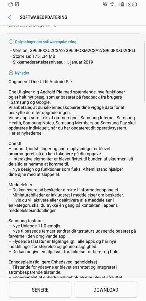 One UI Galaxy S9 Android 9