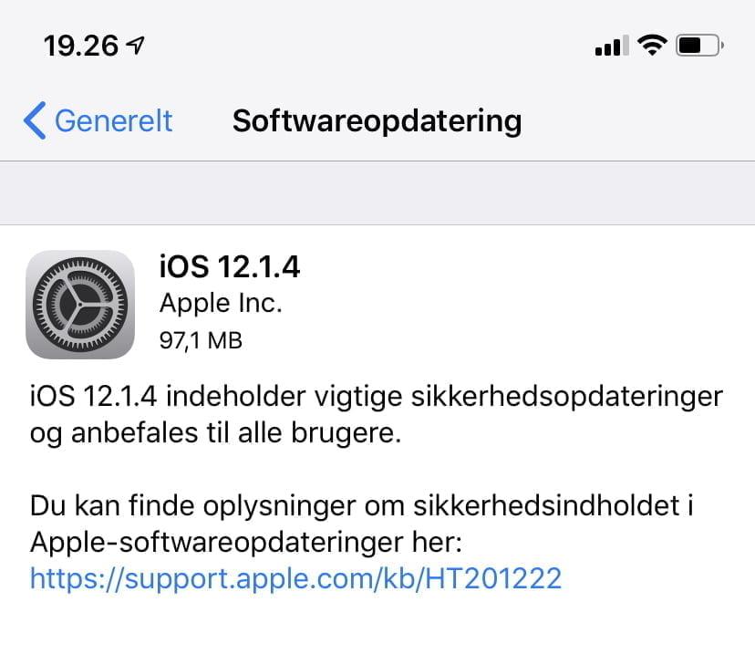 iOS 12.1.4 er ude nu - opdateringen løser sikkerhedsfejlen med FaceTime gruppeopkald (Foto: MereMobil.dk)