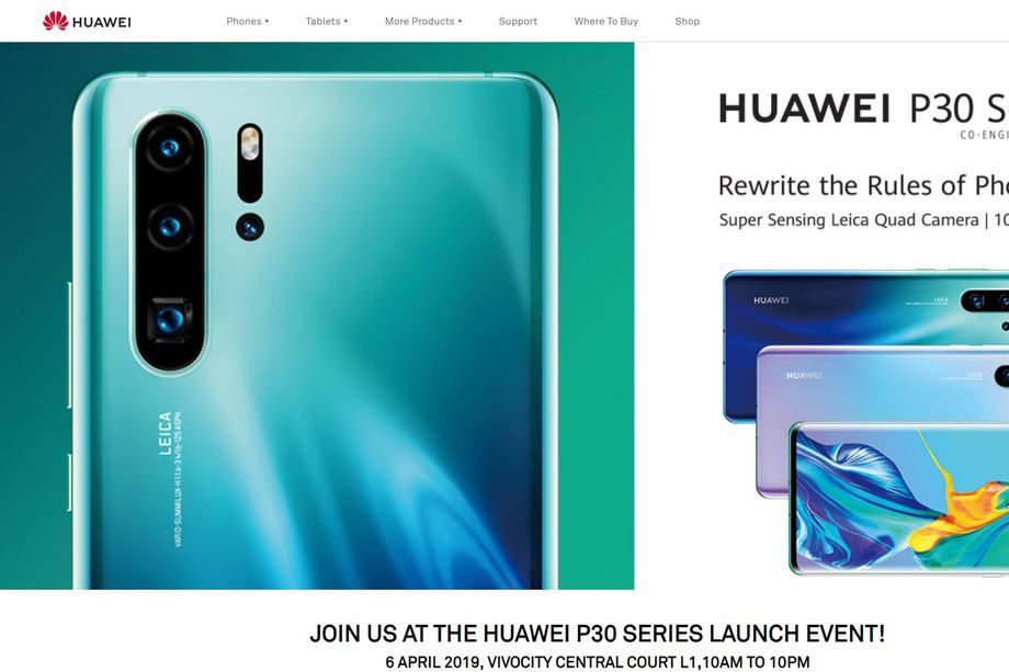 Huawei P30 event side (Kilde: The Verge)