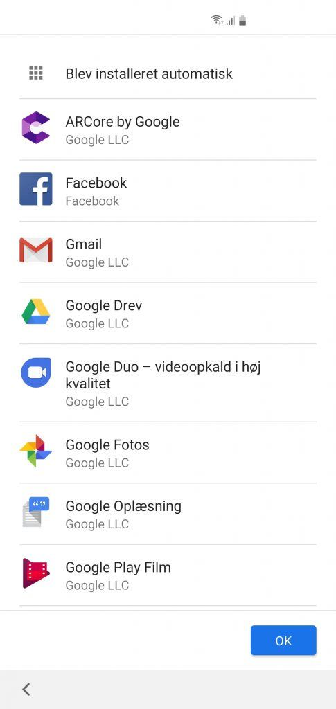 Skærmbillede fra Samsung Galaxy S10