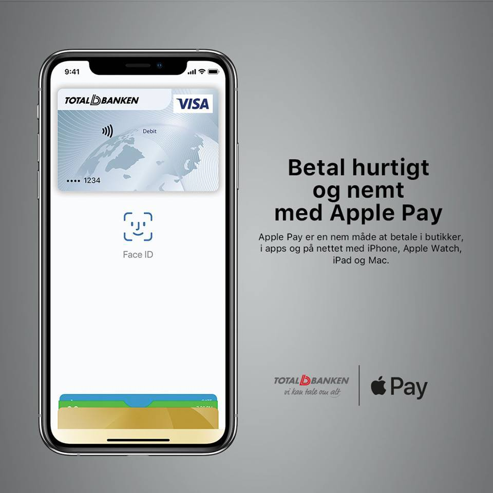 Apple Pay Totalbanken (Kilde: Totalbanken Facebook)